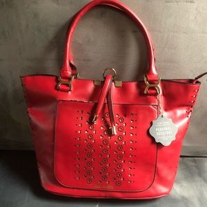 Coco + Carmen Laser Cut Red Tote Bag Vegan leather